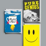 3 pack of A6 greetings card with envelopes including Pure Genius, Rocket Fuel and Smiley Face designs